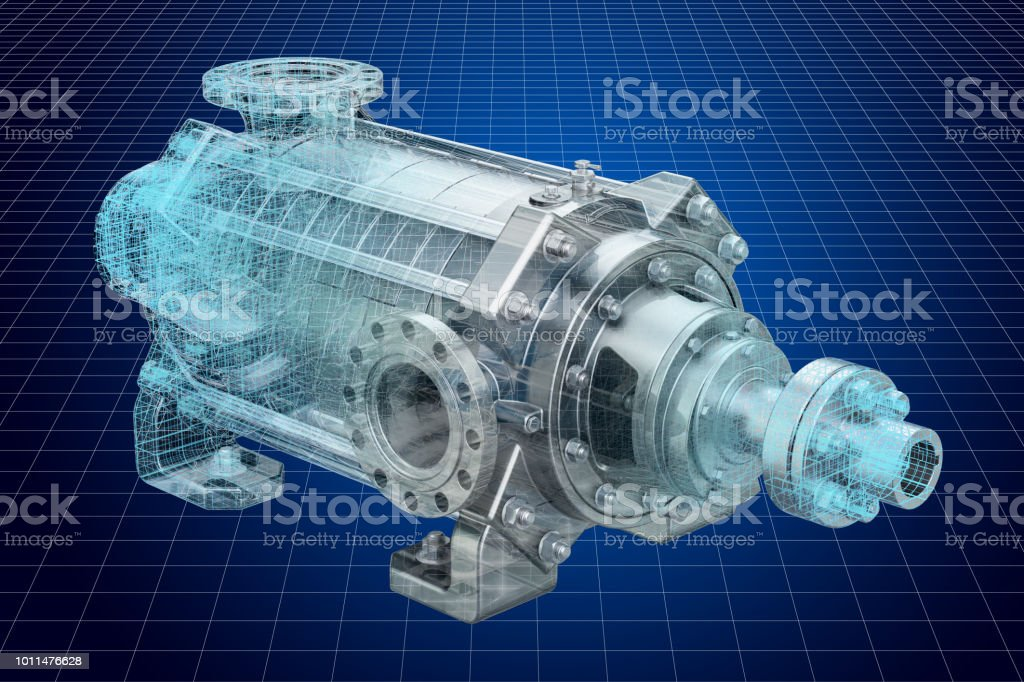Visualization 3d cad model of centrifugal pump, 3D rendering stock photo