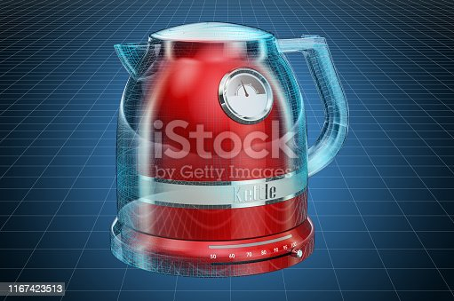 istock Visualization 3d cad model of electric tea kettle, retro design. 3D rendering 1167423513