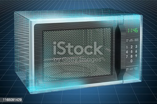 istock Visualization 3d cad model of microwave, blueprint. 3D rendering 1165091429