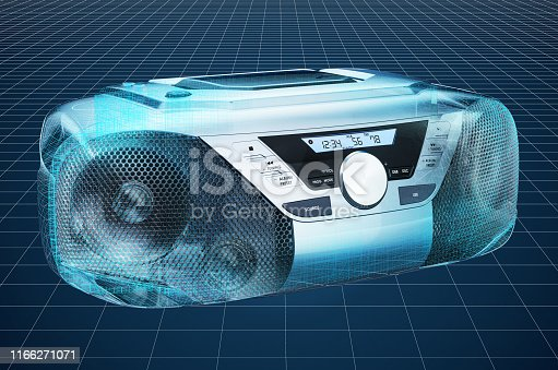 istock Visualization 3d cad model of Modern CD Boombox with AM/FM Stereo Radio, blueprint. 3D rendering 1166271071