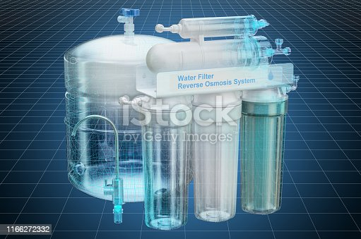 istock Visualization 3d cad model of Reverse Osmosis System, blueprint. 3D rendering 1166272332