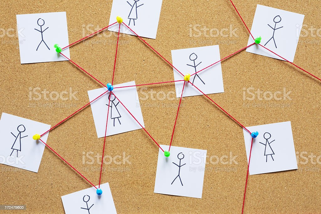 Visualization of a social network on a cork bulletin board stock photo