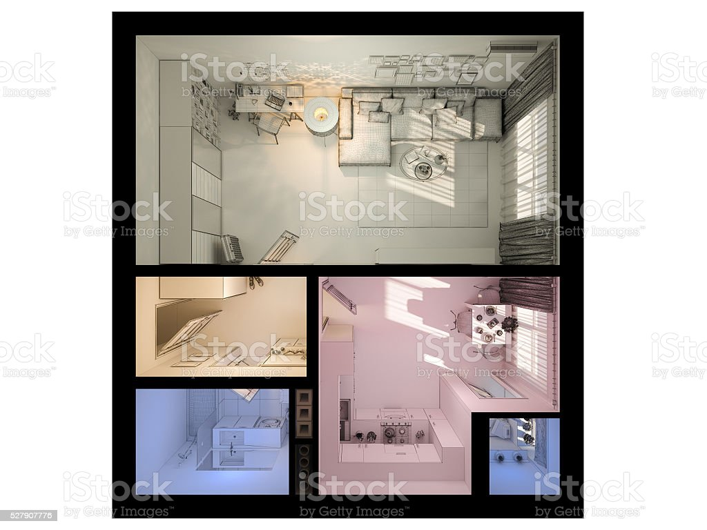 3d Visualization Of Interior Design A Studio Apartment Stock Photo Download Image Now Istock