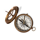 istock Vitage brass compass with sun-dial. 1043698016
