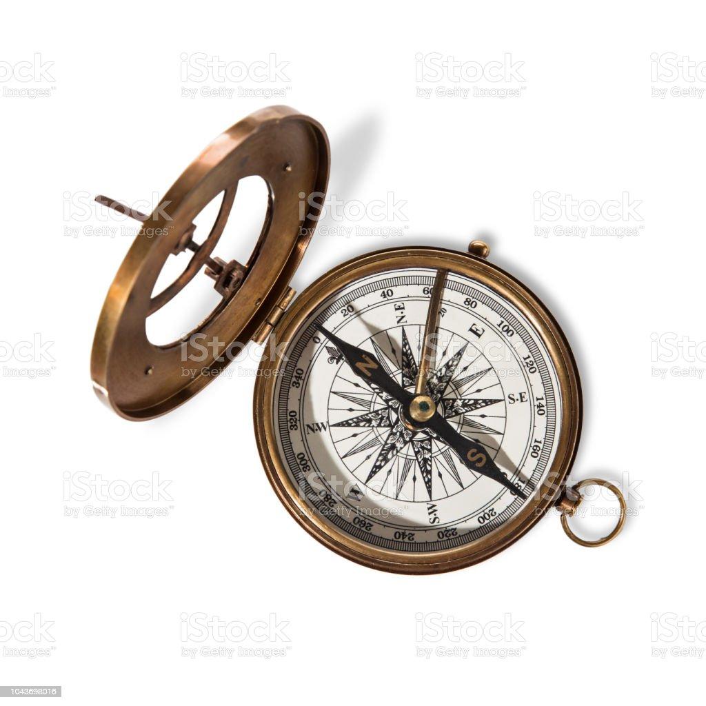 Vitage brújula de latón con reloj de sol. - foto de stock