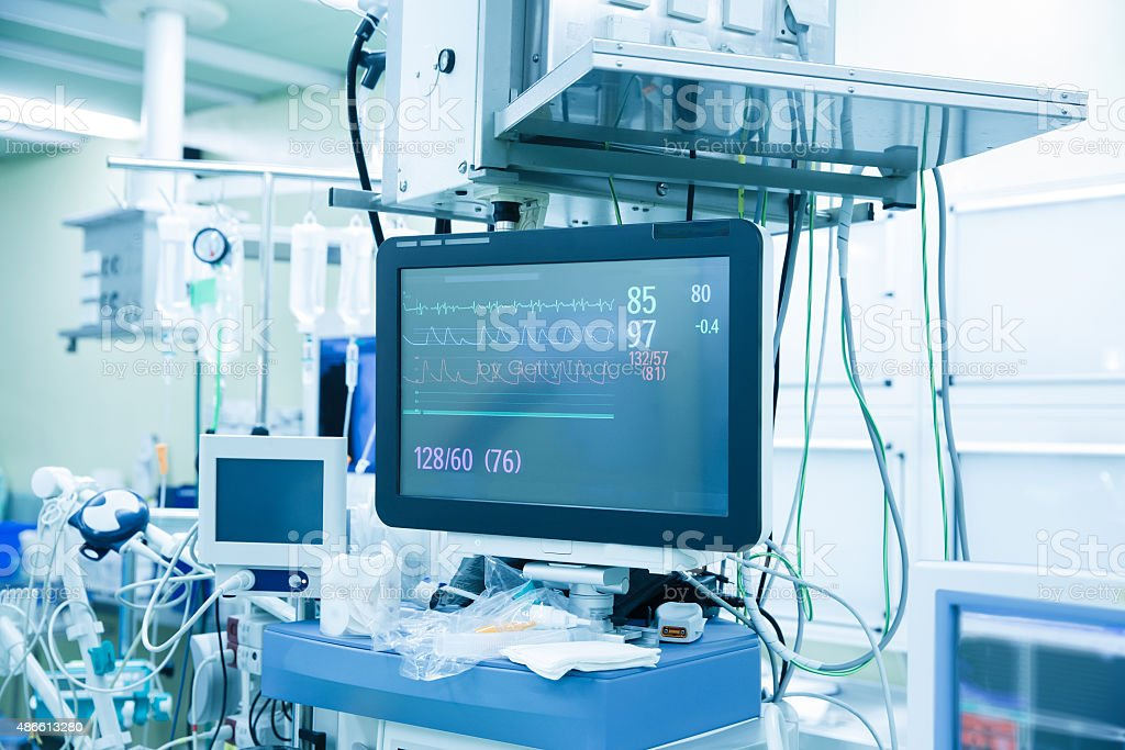 Vital functions (vital signs) monitor in an operating room stock photo