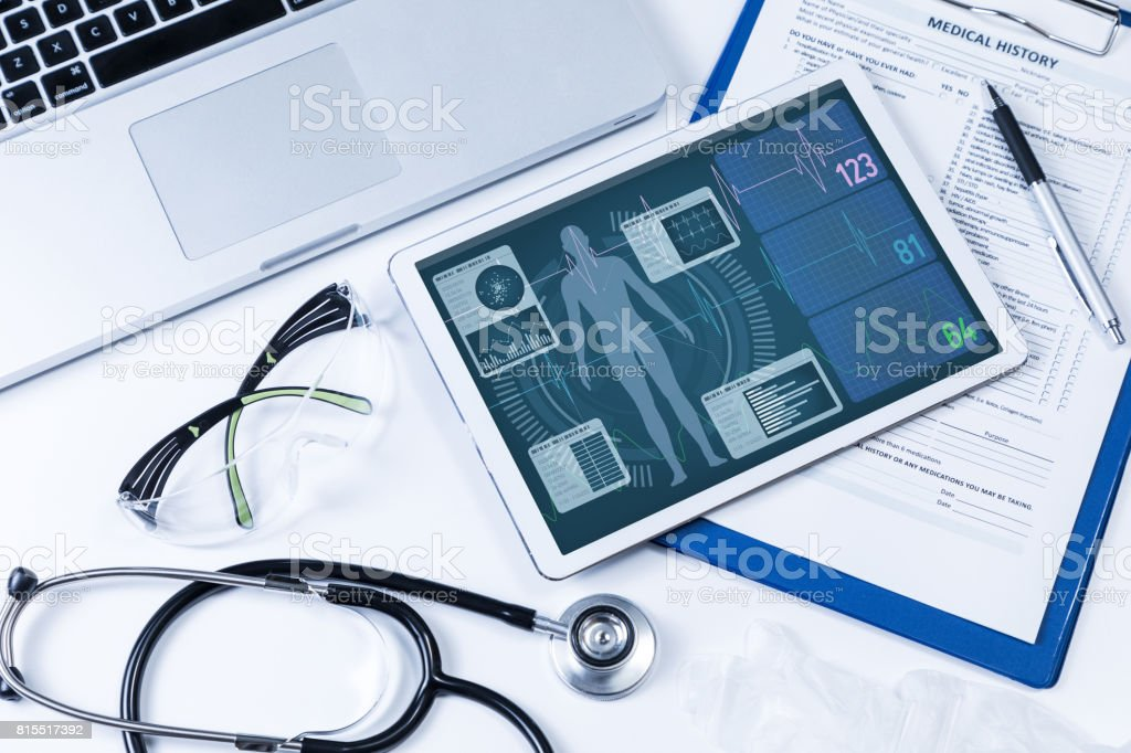 vital sign monitor in tablet PC, medical technology concept royalty-free stock photo