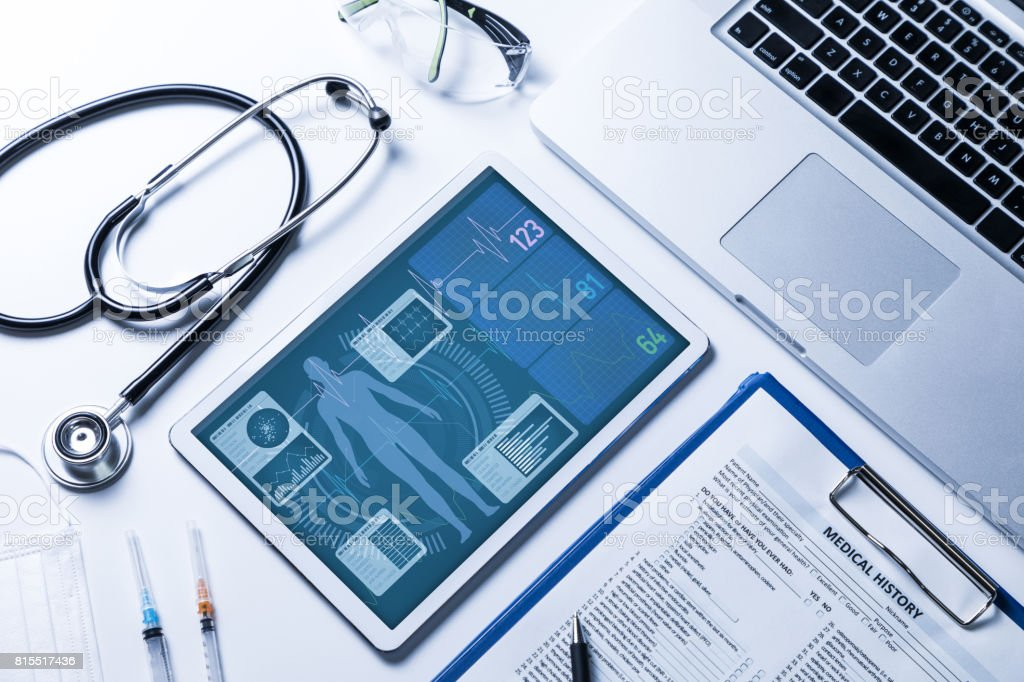 vital sign monitor in tablet PC, medical technology concept stock photo