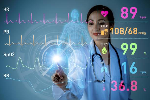 vital sign monitoring concept. 3d rendering. abstract mixed media. - medical technology стоковые фото и изображения