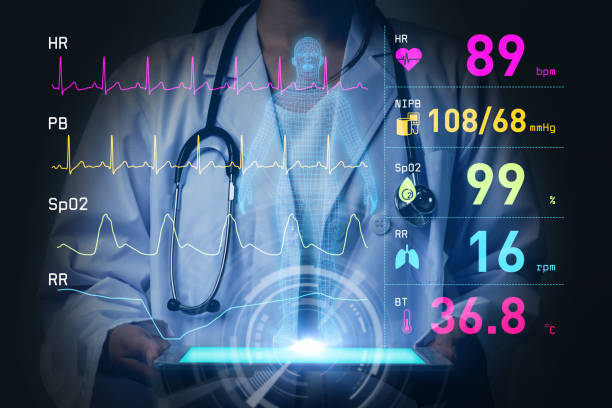 vital sign monitoring concept. 3d rendering. abstract mixed media. stock photo