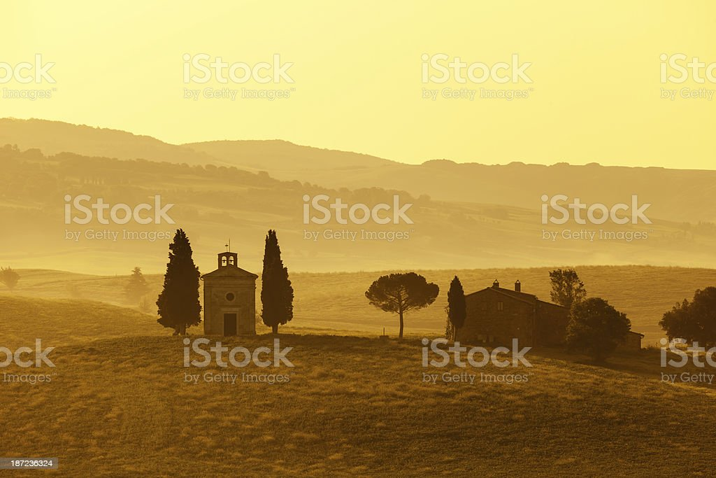 Vitaleta Chapel at Sunrise, Tuscany, Italy royalty-free stock photo