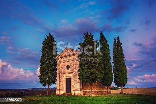 istock Vitaleta chapel in Tuscany 1257602070