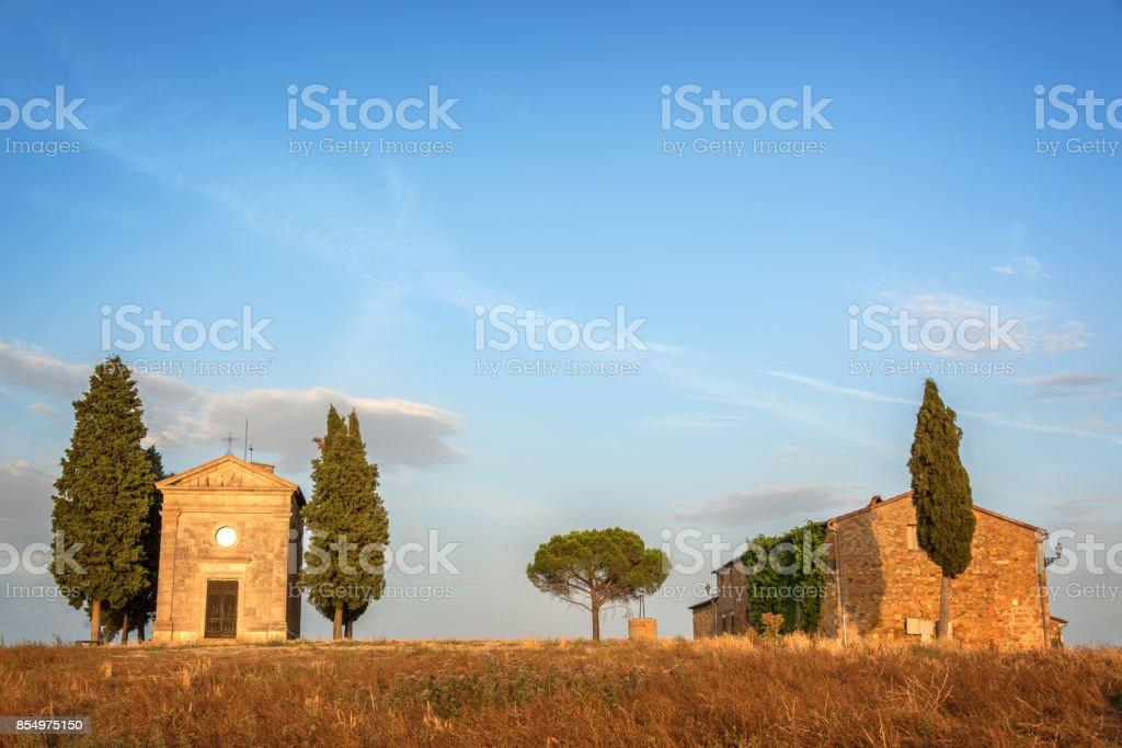 Vitaleta Chapel, Tuscan landscape near San Quirico d'Orcia, Siena, Tuscany, Italy stock photo