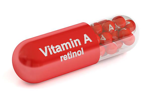 vitamin a capsule , 3d rendering - vitamina a fotografías e imágenes de stock