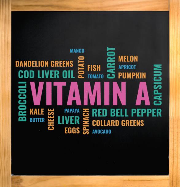 vitamina una nube de alimentos, tiza dibujo sobre tablero negro - vitamina a fotografías e imágenes de stock