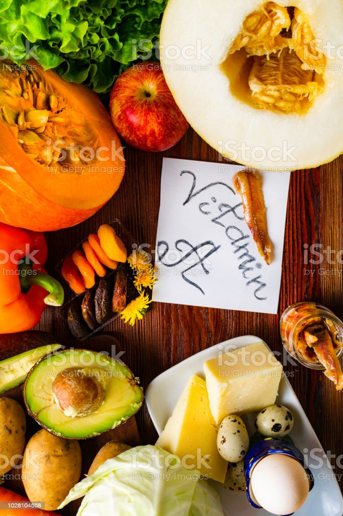 Natural food products rich in vitamin A as pepper, pumpkin, apple,...