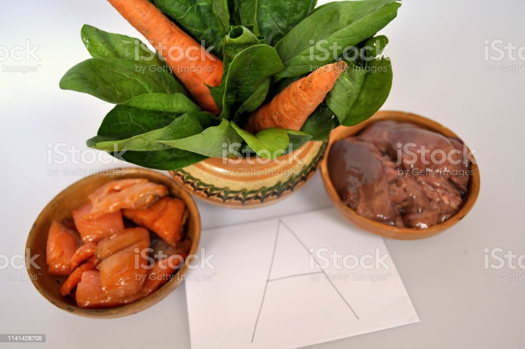 Vitamin A in food. Natural products rich in vitamin A, such as...