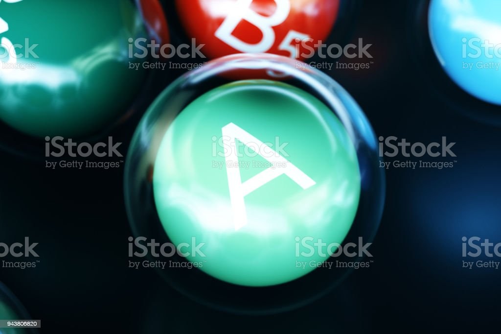 Vitamin A on black background. Symbol of health and longevity. 3d rendering stock photo