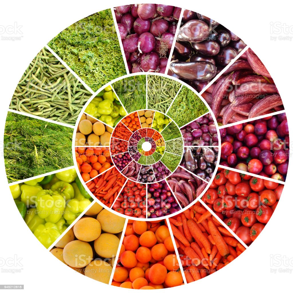 Vitamin and Multicolored Fruit and Vegetable Crown stock photo
