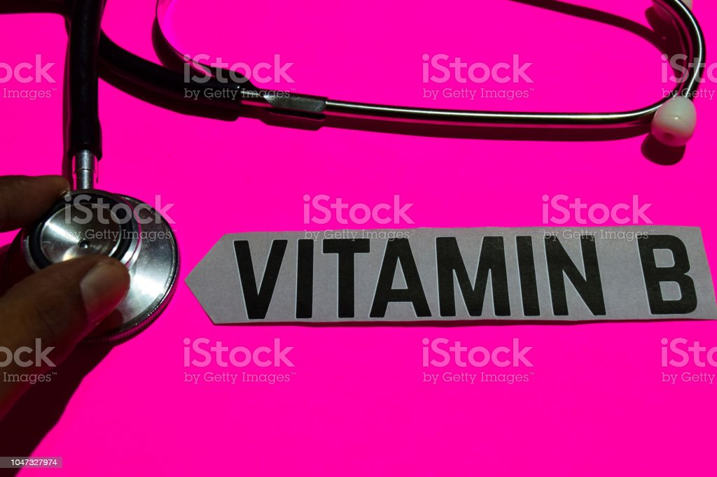 Vitamin B on the paper with medicare Concept stock photo