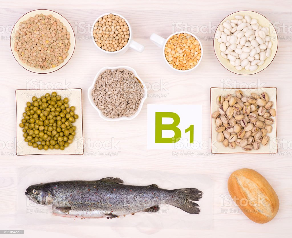 Vitamin B1 containing foods stock photo