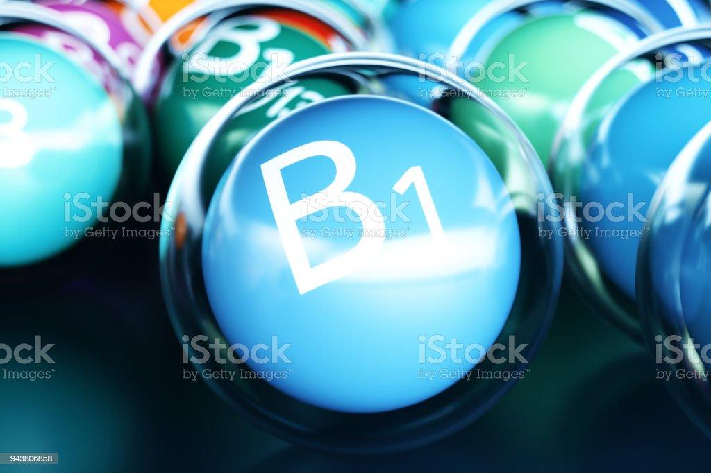 Vitamin B1, on black background. Symbol of health and longevity, 3d rendering stock photo