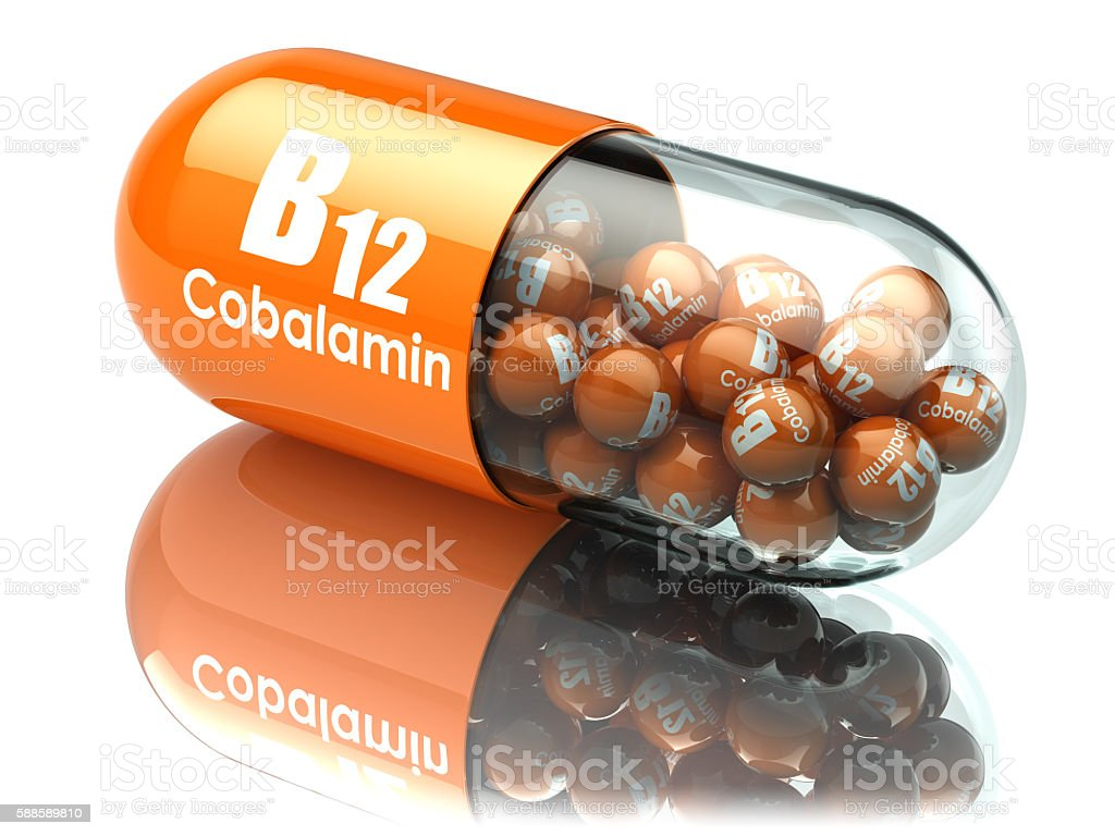 Vitamin B12 capsule. Pill with cobalamin. Dietary supplements. stock photo