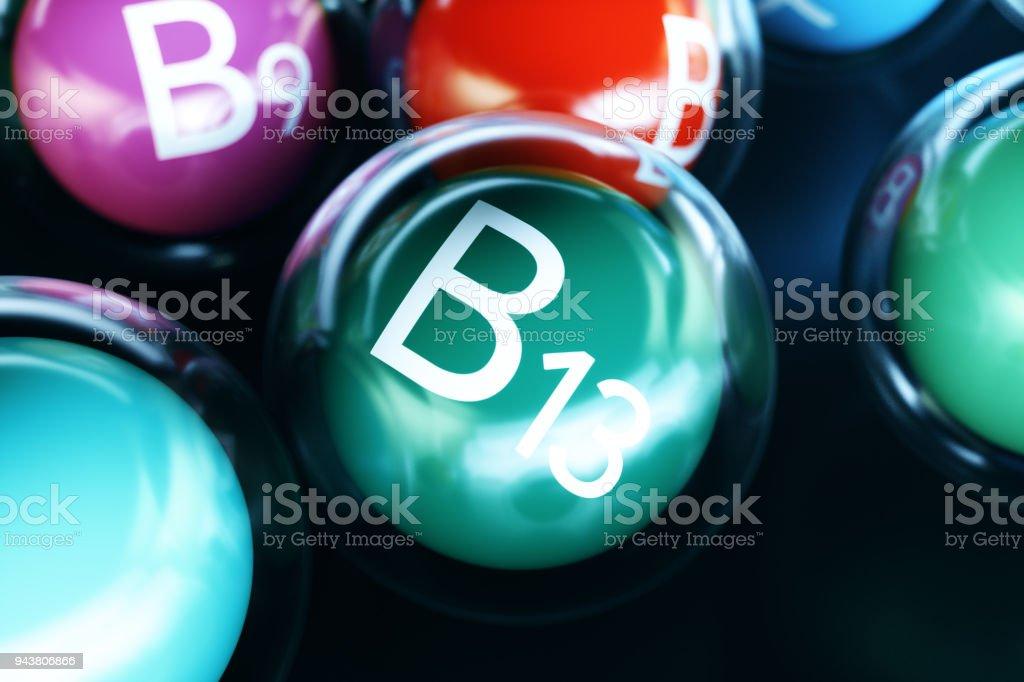 Vitamin B13 on black background. Symbol of health and longevity, 3d rendering stock photo