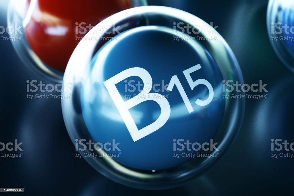 Vitamin B15, on black background. Symbol of health and longevity, 3d rendering stock photo