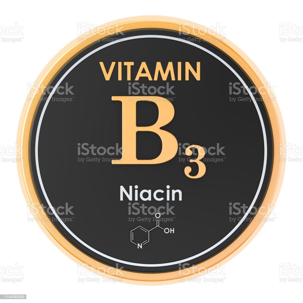 Vitamina B3 Niacina Icono De Círculo Fórmula Química
