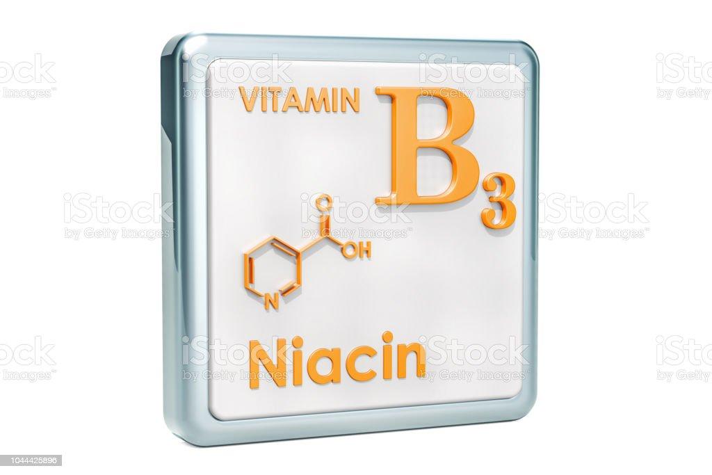 Vitamina B3 Niacina Icono Estructura Molecular Fórmula