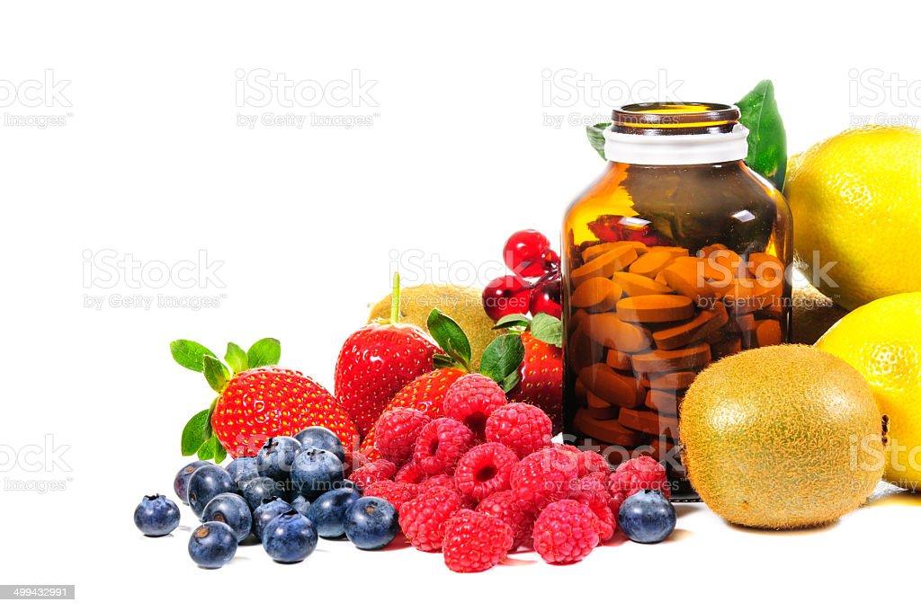 Vitamina C y mezcla de frutas - foto de stock