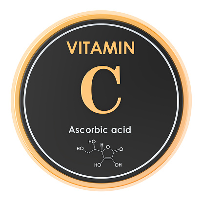 istock Vitamin C, ascorbic acid. Circle icon, chemical formula, molecular structure. 3D rendering 1142032321