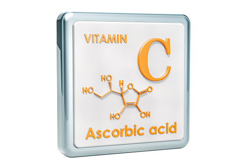 istock Vitamin C, ascorbic acid. Icon, chemical formula, molecular structure on white background. 3D rendering 1044425920