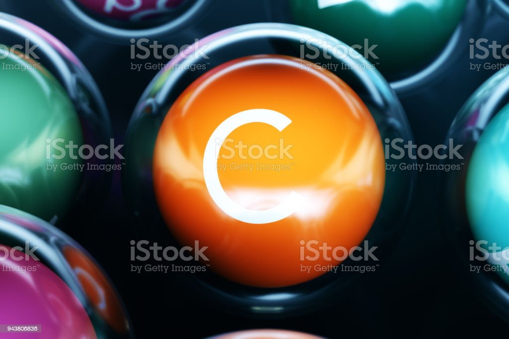 Vitamin C, on black background. Symbol of health and longevity, 3d rendering stock photo