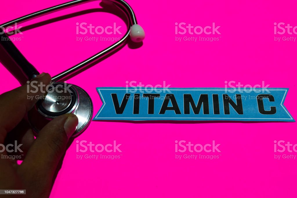 Vitamin C on the paper with medicare Concept stock photo