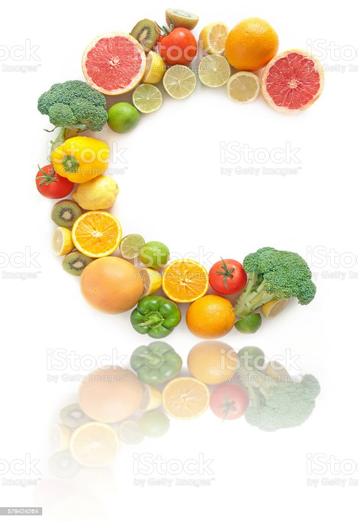 Vitamin C rich fruits and vegetables alphabet stock photo