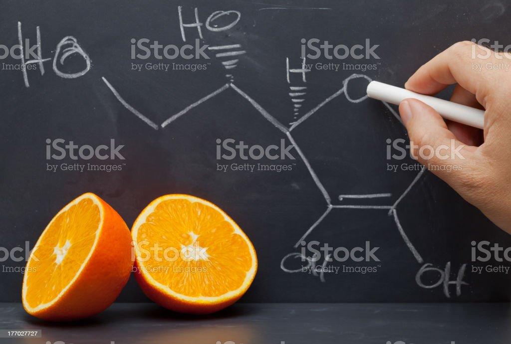 Vitamin C structure stock photo