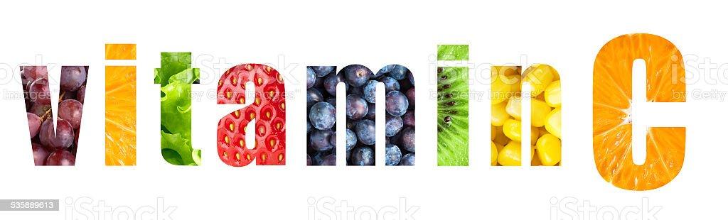 Vitamin C word stock photo