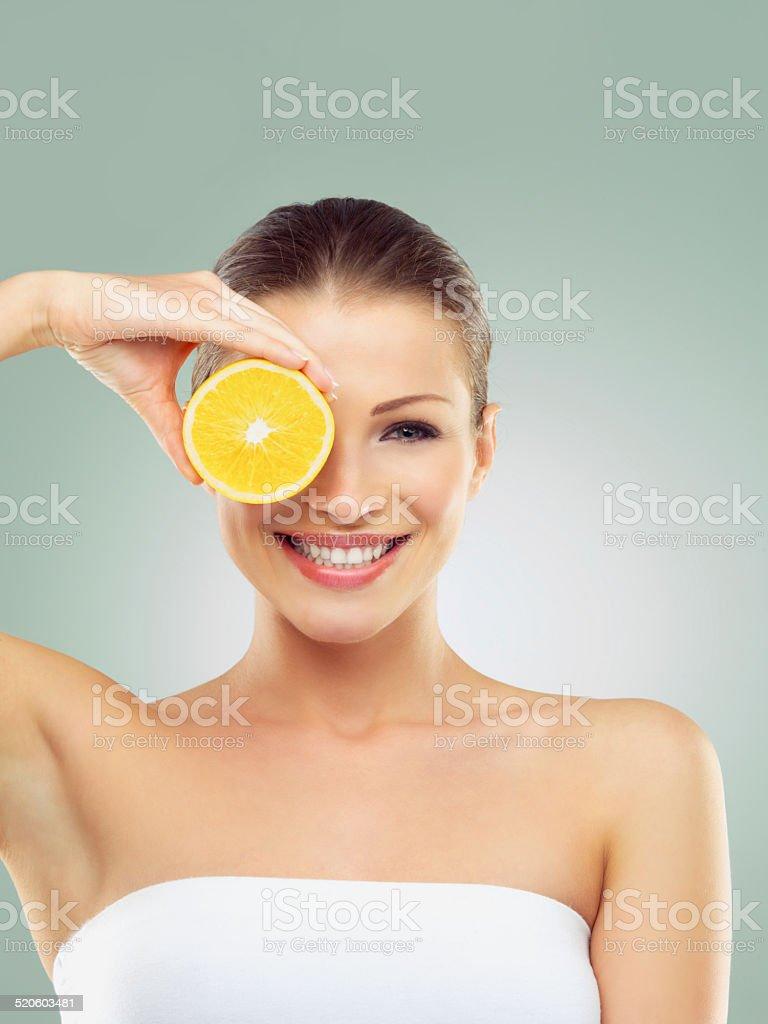 Vitamin C works for me stock photo