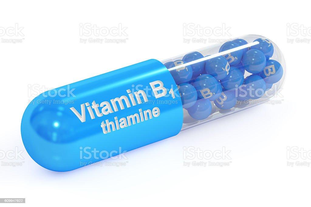 Vitamin capsule B1, 3D rendering stock photo