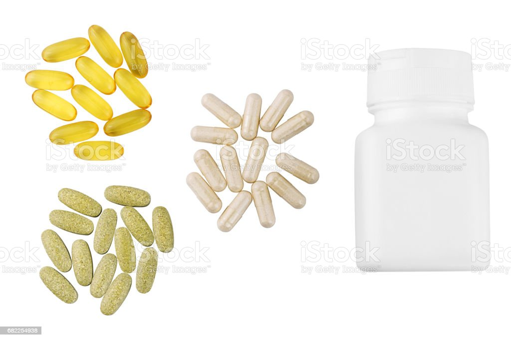 Vitamin complex, omega 3, glucosamine capsules, multivitamin pill, supplements and white container isolated on white background, top view stock photo