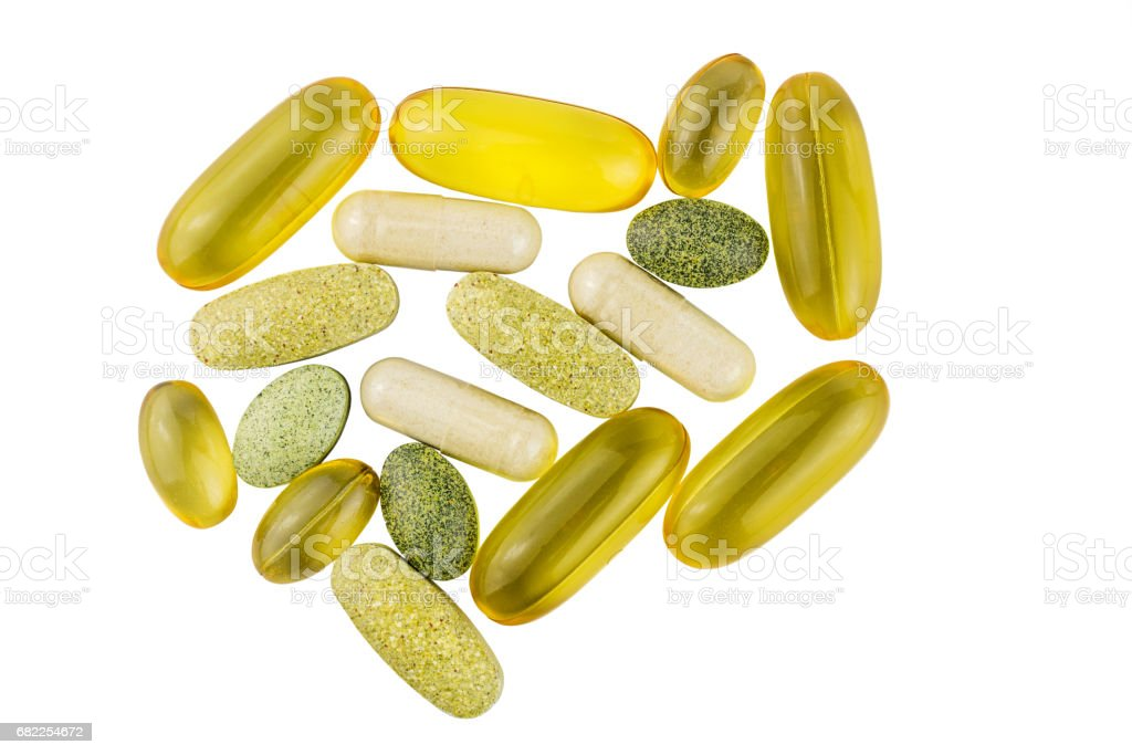 Vitamin complex, omega 3, glucosamine capsules, multivitamin supplements isolated on white background, top view stock photo