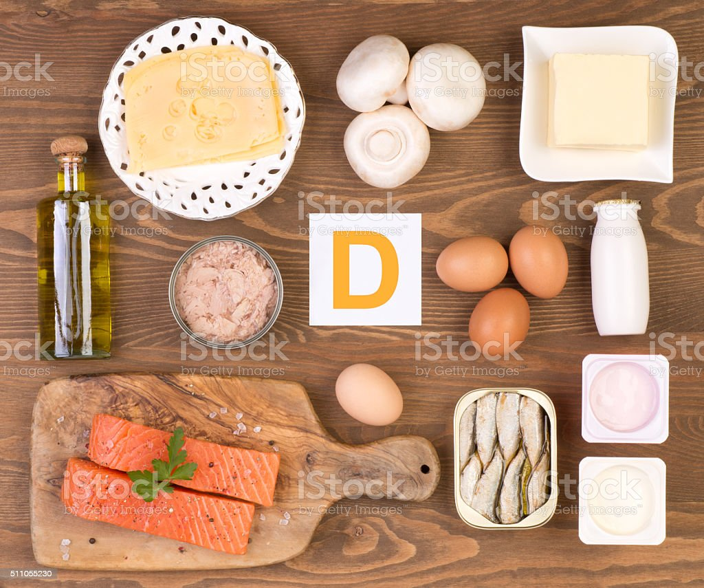 Vitamin D containing foods stock photo