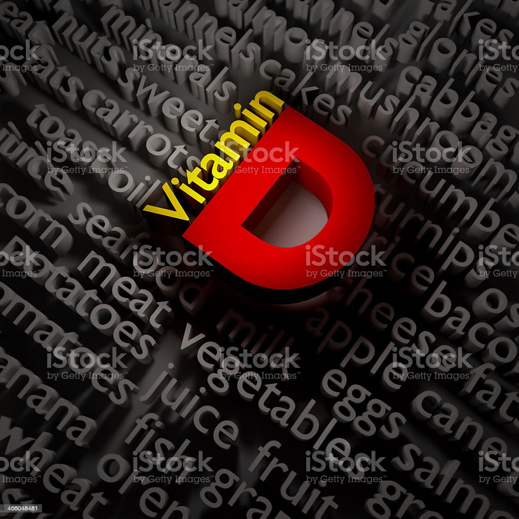 Vitamin D in 3D and red and yellow royalty-free stock photo