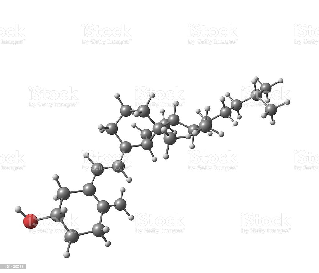 Vitamin D molecular structure isolated on white royalty-free stock photo