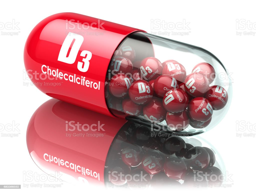 Vitamin D3 capsule or pill. Dietary supplements. Cholecalciferol vector art illustration
