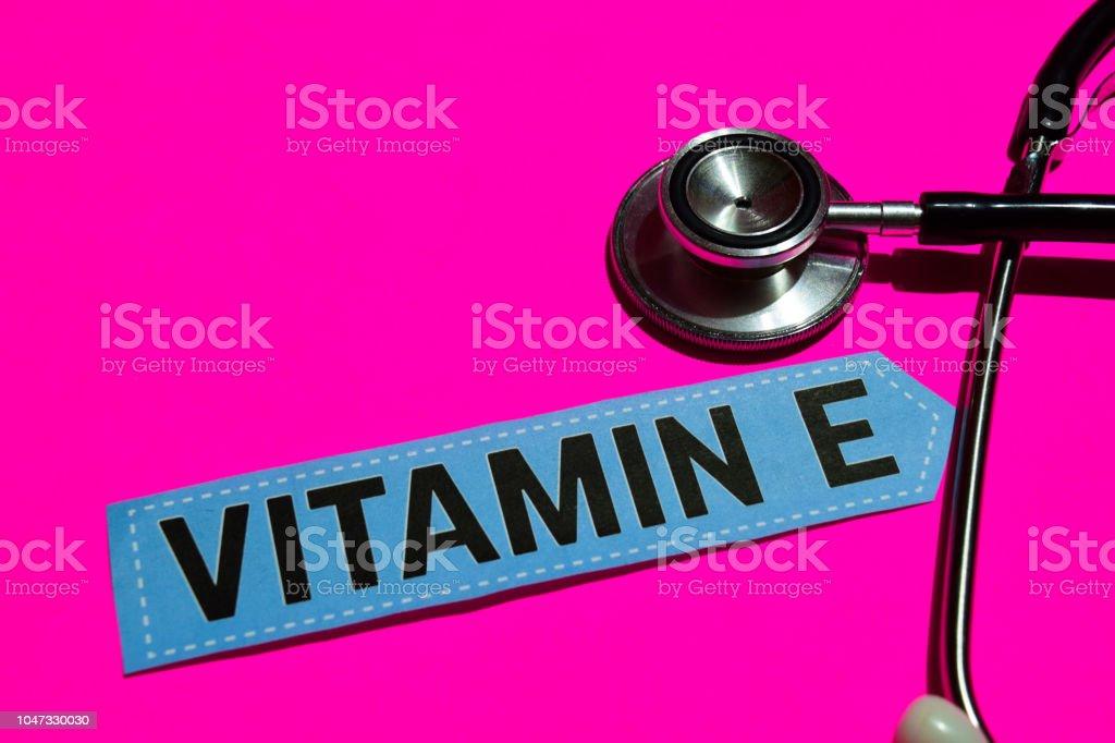 Vitamin E on the paper with medicare Concept stock photo