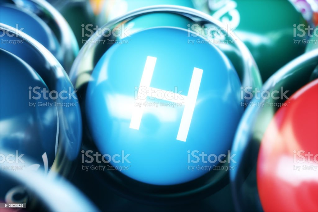 Vitamin H, on black background. Symbol of health and longevity, 3d rendering stock photo
