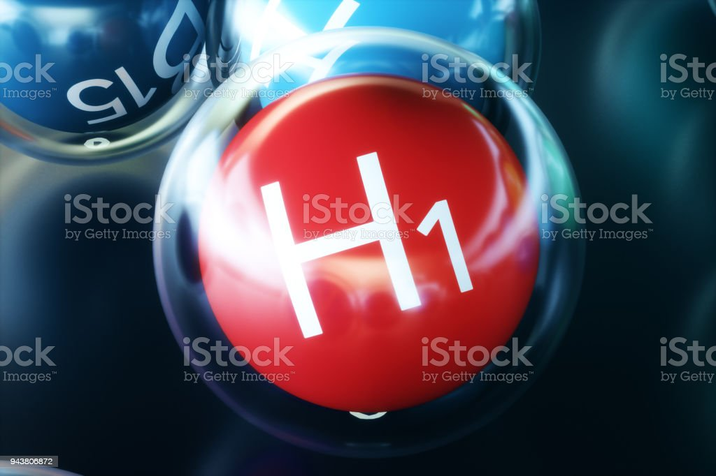 Vitamin H1 on black background. Symbol of health and longevity, 3d rendering stock photo
